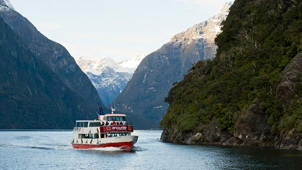 The Lady Bowen cruising on Milford Sound
